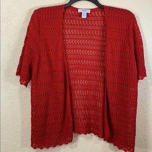 C J Banks Top Sweater Cardigan 2X Red Crochet